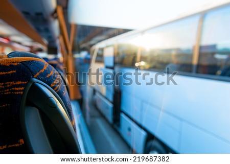 view of the tourist bus through the window - stock photo