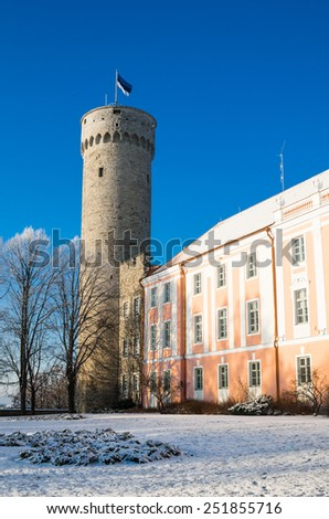 View of the tower Long Herman and the parliament building in Tallinn - stock photo