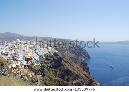 View of the town of Fira Santorini Island Greece
