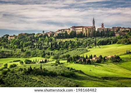 View of the town of Pienza at sunset - stock photo