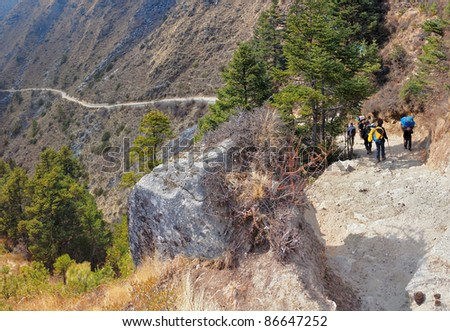 View of the trail near Namche Bazar, Nepal - stock photo