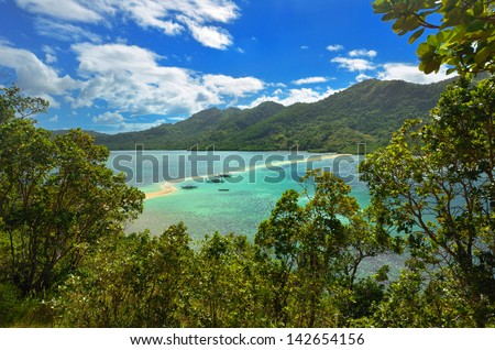 View of the tropical island with Snake Island. El Nido, Philippines. - stock photo