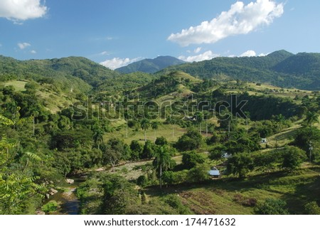 View of the tropical mountains in Cuba - stock photo