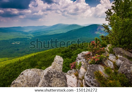 View of the Trout Run Valley from Tibbet Knob, in George Washington National Forest, West Virginia. - stock photo
