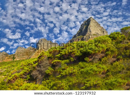 View of the twelve apostles mountain chain, Cape Town, South Africa - stock photo