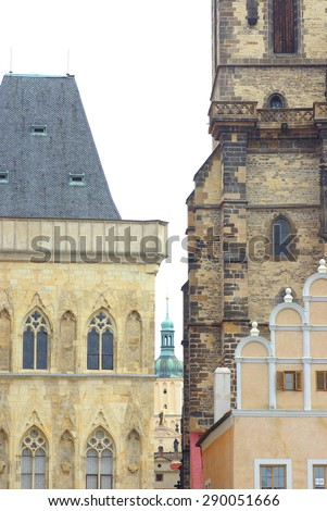 view of the Tyn Church in Prague - stock photo