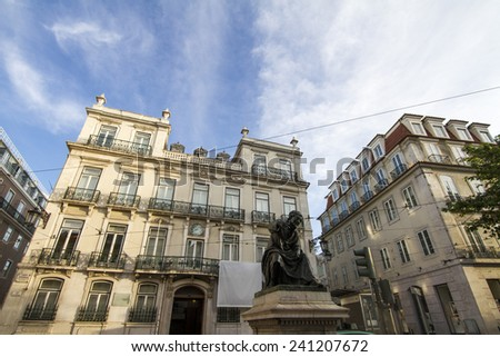 View of the typical building architecture of Lisbon, Portugal. - stock photo