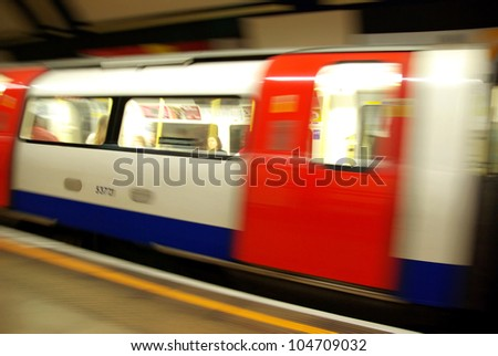 View of the underground in motion in London.