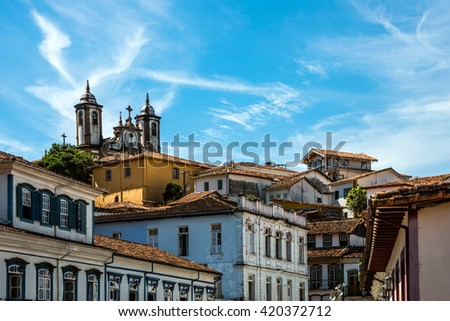View of the unesco world heritage city of Ouro Preto in Minas Gerais, Brazil