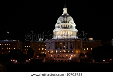View of the United States Capitol Building in Washington, DC at night