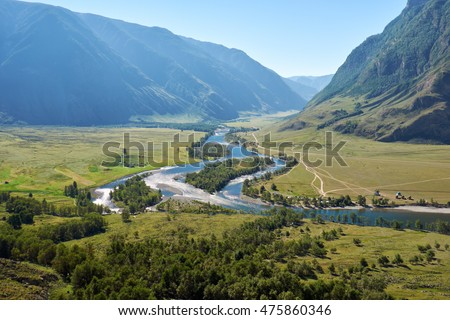 View of the valley of Altai river Chulyshman from the slope of mount. Siberia, Russia