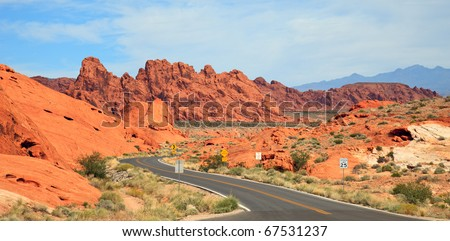 View of the Valley of Fire State Park in Nevada. - stock photo