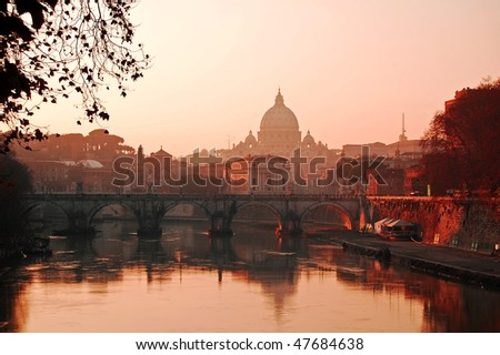 View of the Vatican at sunset, Rome - stock photo