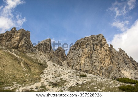 View of the via ferrata at the top of the Gran Cir. Puez in the Dolomites. Alps