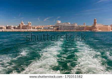 View of the Vieux Port - old port of Marseilles, France  - stock photo