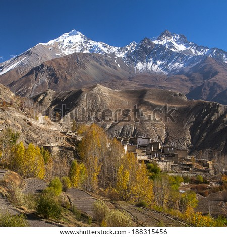 view of the village Jhong - stock photo