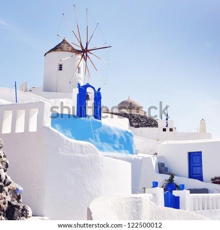 View of the village of Oia in Santorini island, Greece - stock photo