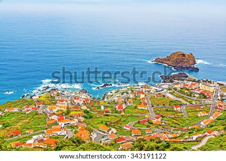 View of the village of Porto Moniz, Madeira Island, Portugal - stock photo