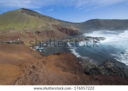 View of the volcanic crater in El Golfo, Lanzarote (Canary Islands) - stock photo
