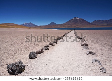 View of the volcano near the lagoon Miscanti and Miniques, Atacama, Chile - stock photo
