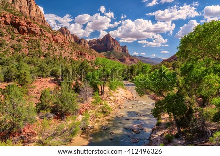 View of the Watchman mountain in Zion National park and the virgin river, Utah - stock photo
