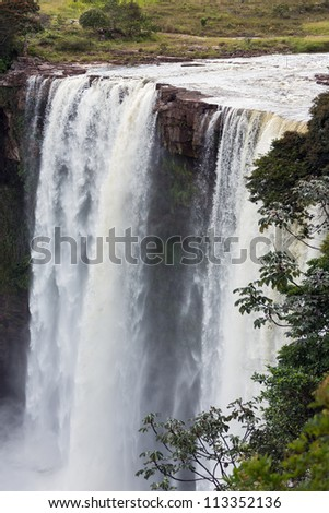 View of the waterfalls in Canaima national park - Venezuela, South America - stock photo