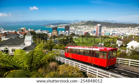 View of the Wellington Cable Car. - stock photo