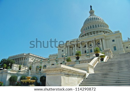 view of the west front of the Capitol Building in Washington DC where presidential inaugurations takes place - stock photo