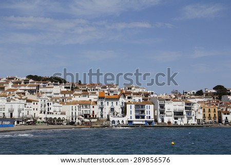 View of the white houses in Cadaques, a famous village in the Costa Brava, at the north of Catalonia, Spain