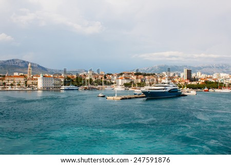 view of the yachts vessels in city bay and cityscape in Split Croatia - stock photo