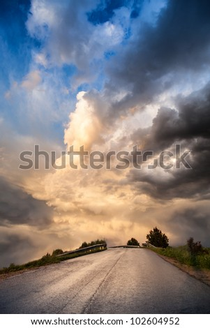 View of this rural road to nowhere. - stock photo