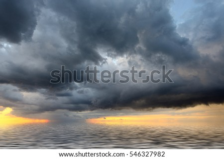 View of thunderstorm clouds above the Mediterranean sea.