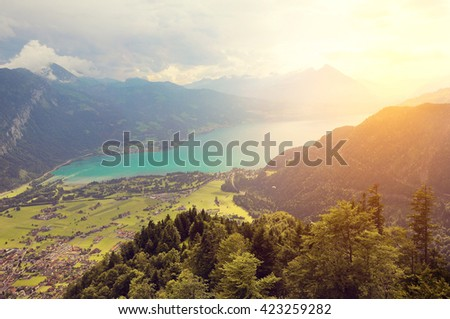 View of Thunersee from Harder Kulm at sunset time. Switzerland. - stock photo