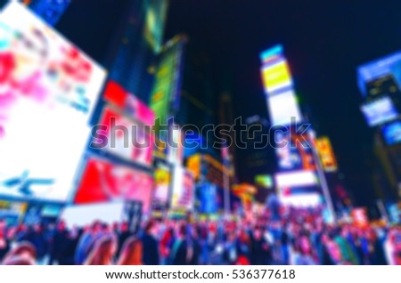 View of Times Square at night in New York City with blurred effect