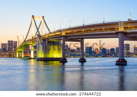 View of Tokyo Bay and Rainbow Bridge at Evening - stock photo