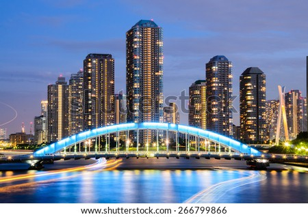 View of Tokyo Cityscape and Sumida River - stock photo