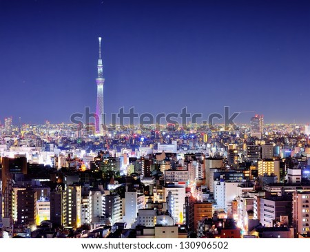 View of Tokyo Sky Tree at night. - stock photo