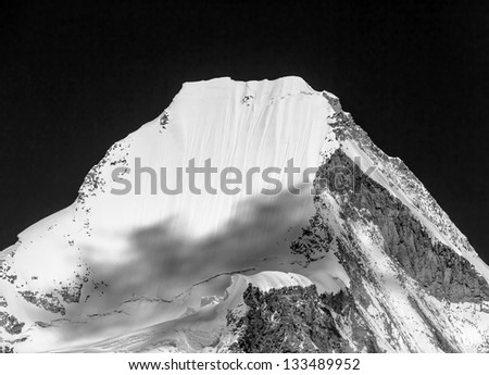 View of top of the peak Langtern (6712 m) from Kala Patthar - Everest region, Nepal, Himalayas (black and white) - stock photo