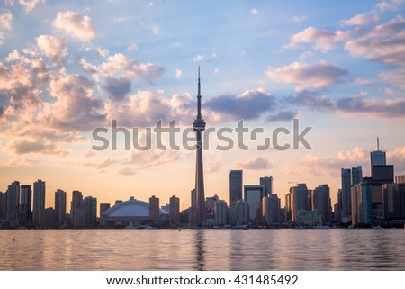View of Toronto Canada Cityscape during sunset - stock photo