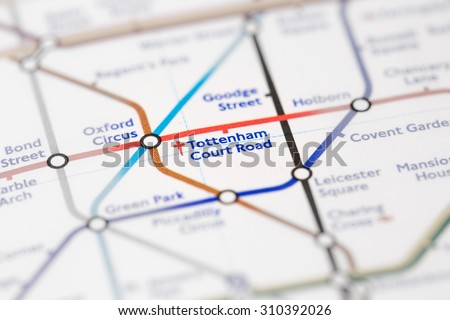 View of Tottenham Court Road station on a London subway map. (selective colouring) - stock photo