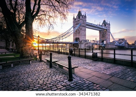 View Of Tower Bridge at sunrise on a cold November morning in London, United Kingdom. - stock photo