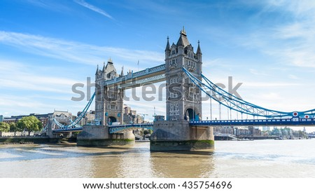view of Tower Bridge over the River Thames, London, UK, England, selective focus - stock photo