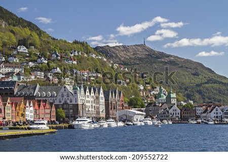 View of town Bergen with his home mountain Floeyen - stock photo