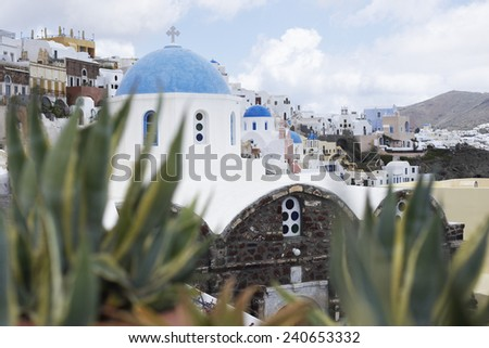 View of Town Rising on Hill - stock photo