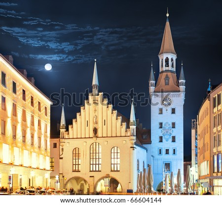 View of town tower and church at Marienplatz at night Munich - stock photo