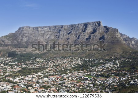 View of townscape with Table mountain, Cape Town, South Africa