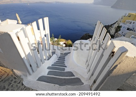 View of traditional village in Santorini, beautiful Greek island