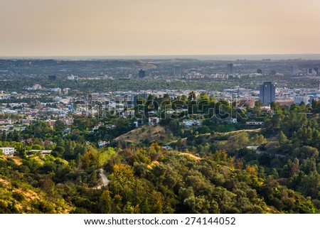 View of trails in Griffith Park and Hollywood from Griffith Observatory, in Los Angeles, California. - stock photo