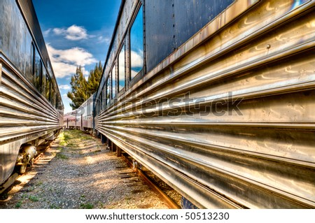 View of trains in an railway with wide angle of view. - stock photo