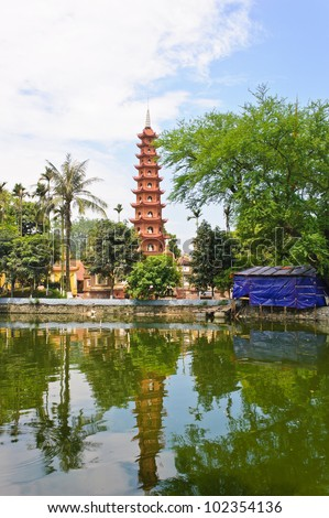 View of Tran Quoc pagoda from the lake - stock photo